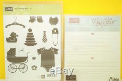 RETIRED Stampin Up Something for Baby set + Baby's First Framelits Dies Good Con