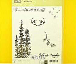 RETIRED Stampin Up Wonderland stamp set Christmas Pine Trees Deer Stars BEAUTIFU
