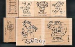SANTA'S ELVES SET LADDER Christmas Stampin' Up! 13 wood North Pole RUBBER STAMPS