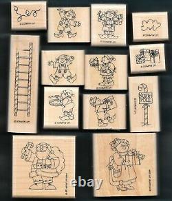 SANTA'S ELVES SET North Pole HOLIDAY Christmas Stampin' Up! Wood WM Rubber Stamp