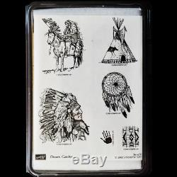 STAMPIN UP Dream Catcher STAMPS SET NEW Rare UM Tribal Indian Chief Horse Teepee