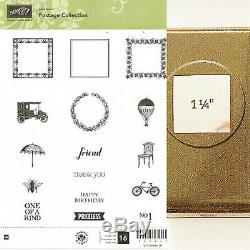STAMPIN UP POSTAGE COLLECTION RETIRED CLEAR MOUNT STAMP SET with 1 1/4 in PUNCH