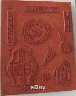 STAMPIN UP SKETCHED BIRTHDAY CLEAR MOUNT STAMPS SET with MATCHING 1 3/4 PUNCH NEW