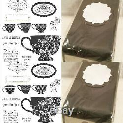 STAMPIN UP TEA SHOPPE 10 CLEAR MOUNT OVAL STAMP SET NEW With LARGE 1 3/4 in PUNCH