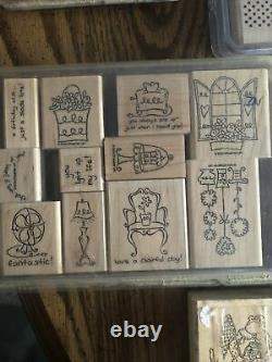 Set Of 84 Ink Stamps Almost All Are Stampin Up. Many Seasons And Designs