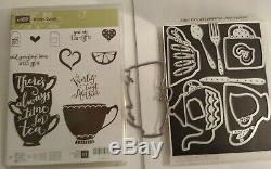 Stampin UP A NICE CUPPA stamp set & Kettle Framelits Dies DIES BY DAVE & Trinket