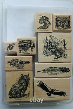 Stampin Up Bird of Prey set of 9 Retired Eagle, Owl