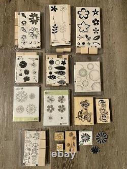 Stampin' Up Bundle Wooden Mounted Stamps Set Flowers Plants Halloween Puppy Dog