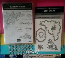 Stampin Up CLIMBING ROSES Stamp Set & ROSE TRELLIS Thinlits Dies Bundle