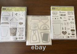 Stampin Up COFFEE CAFE & MERRY CAFE Stamp Sets, COFFEE CUPS Framelits, DSP Paper