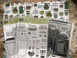 Stampin Up COFFEE CAFE & MERRY Stamp Sets & COFFEE CUP Dies BRAND NEW