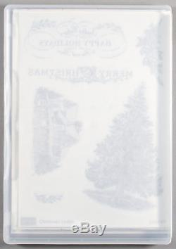 Stampin Up Christmas Lodge Set of Clear Mount Rubber Stamps Tree Bird Ski Winter