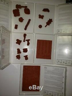 Stampin' Up! Clear Blocks with Case and 15 sets Clear mount Stamps LOT