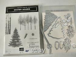 Stampin Up Cling Stamp Set Winter Woods & In The Woods Dies Bundle Lot