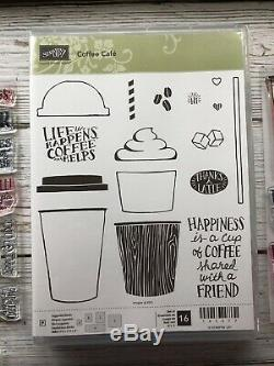 Stampin' Up Coffee & Merry Cafe Stamp Sets Coffee Cups Frap Framelit Dies Lot