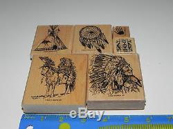Stampin Up Dream Catcher Stamp Set/6 Native American Indian Chief Teepee Horse