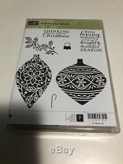 Stampin Up Embellished Ornaments wood mount stamp set. Retired and brand new
