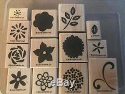 Stampin Up Flower Factory 13 Wood Mounted Rubber Stamp Set SU Retired Scrapbook