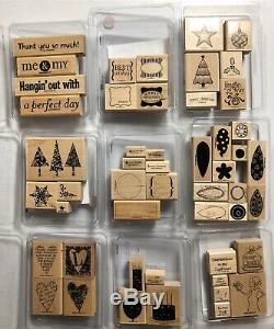 Stampin' Up! HUGE Lot of 145+ Retired Wood Mounted Rubber Block Stamp Sets