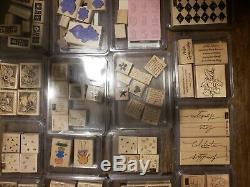 Stampin' Up HUGE Lot of 182 Wood Rubber Block Stamps 33 Sets 90% Unused Retired