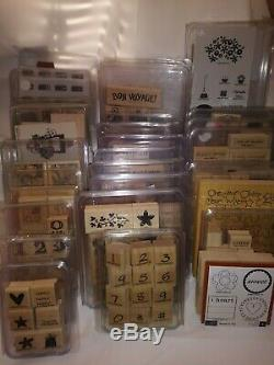 Stampin' Up! HUGE Lot of 29 SETS Wood Mounted Rubber Stamps Most are NEW FREE SH