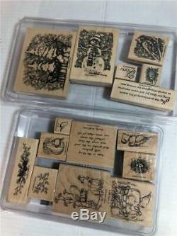 Stampin' Up! HUGE Lot of 300+ Wood Mounted Rubber Block Stamps Great Sets