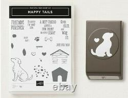 Stampin' Up Happy Tails Photopolymer Stamp Set Dog + Matching Punch NEW Retired