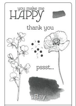 Stampin Up Happy Watercolor (8) Clear Mount Stamp Set Uesd Cardmaking Scrapbook