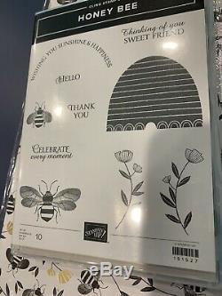 Stampin Up Honey Bee Stamp Set Detailed Bee Dies Golden DSP Paper 12x12 Bundle