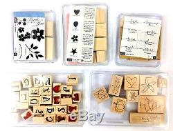 Stampin Up Huge Lot 38 Rubber Stamp Sets New & Used 291 Total Stamps