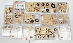 Stampin' Up! Huge Lot of 15 Retired Wood Mounted Rubber Block Stamp Sets Flowers