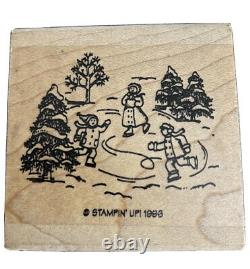Stampin' Up! Ice Skating Scene Stamp From The Chill Of Winter Rubber Stamp Set