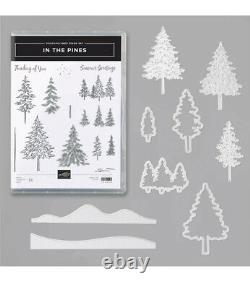 Stampin Up In The Pines Tree Craft Dies Stamps Set Lot Green Ink Pad Pen New