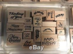 Stampin Up LARGE Lot 30 Sets Stamps Holiday Christmas Decorative Alphabet