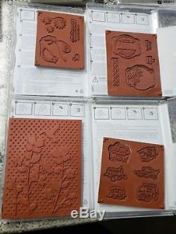 Stampin Up LOT 11 sets 54 stamps flowers words wishes thanks sayings birds