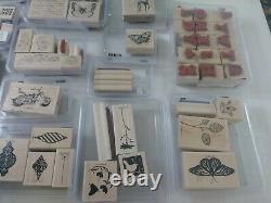 Stampin Up Lot Of 22 Wood Handle Rubber Stamp Sets/59 Unique Stamps/3 Alpha Sets