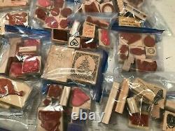 Stampin' Up! Lot Of 27 Sets Wood Mount Rubber Stamps Many Retired Vintage