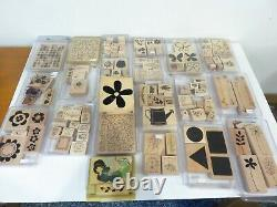 Stampin' Up! Lot Of 49 Sets 400+ Wood Mount Rubber Stamps Many Retired Vintage
