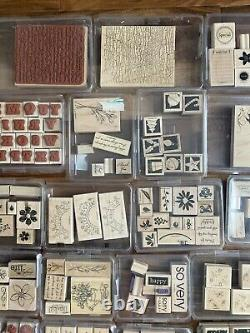 Stampin' Up! Lot Of 54 Sets 400 Wood Mount Rubber Stamps Many Retired Vintage
