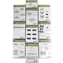 Stampin Up! Lot of 10 Wood Block Sets 50 Stamps Brand New Unused in Box Retired