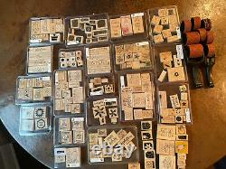 Stampin Up Lot of 19 stamp sets, 2 rubber wheel handles, 8 wheels & 16 singles
