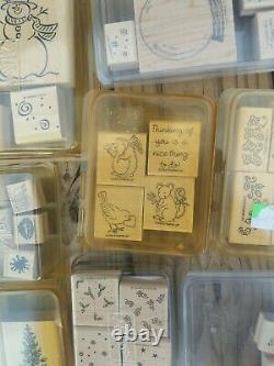 Stampin' Up! Lot of Various Styles Wood Mounted Rubber Stamp Set Holiday, Border