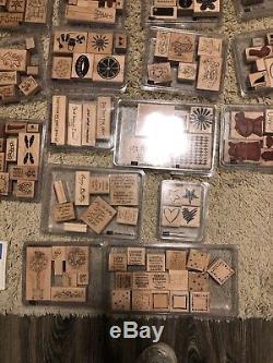Stampin Up MEGA Lot Over 60 Complete Stamp Sets, Ink, 100s Of Wood Mounted