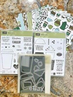 Stampin Up MERRY CAFE & COFFEE CAFE Stamp Sets with COFFEE CUP Framelits + DSP