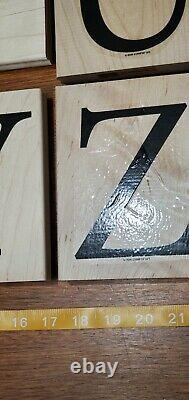 Stampin Up MONOGRAM ALPHABET ENTIRE SET of 26 GIANT Wood Mounted Rubber Stamps