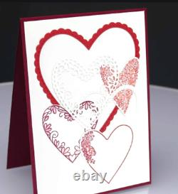 Stampin Up Meant to Be Stamp set & Be Mine Stitched Dies Hearts Valentine's Day