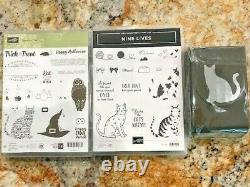 Stampin Up NINE LIVES & SPOOKY CAT Stamp Set with Matching CAT Punch Brand New