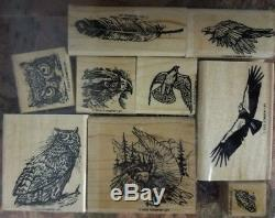 Stampin Up! RARE 2002 Birds Of Prey Stamp Set Falcon Eagle Owl Vulture Feather