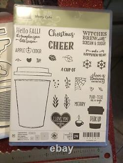 Stampin Up Rare Craft Stamps Set Dies Coffee Cups Cafe Authentic Merry To Go