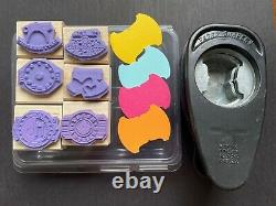 Stampin Up Round Tab Paper Punch & Party Punch Rubber Stamp Set Scrapbooking